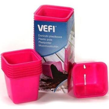 VEFI doniczki do wysiewu 8x8 cm 20 szt różowe